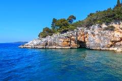 Rocky coastline on the Istrian peninsula on the Adriatic Sea. In Croatia,Europe royalty free stock image