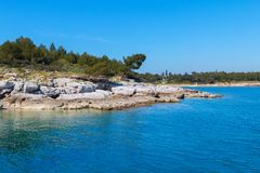 Rocky coastline on the Istrian peninsula on the Adriatic Sea. In Croatia,Europe royalty free stock images