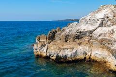 Rocky coastline on the Istrian peninsula on the Adriatic Sea. In Croatia,Europe stock photography