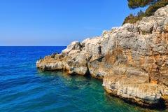 Rocky coastline on the Istrian peninsula on the Adriatic Sea. In Croatia,Europe stock photos