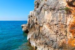 Rocky coastline on the Istrian peninsula on the Adriatic Sea. In Croatia,Europe royalty free stock photos