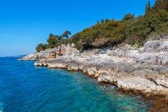 Rocky coastline on the Istrian peninsula on the Adriatic Sea. In Croatia,Europe stock image