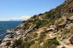Rocky Coastline of Lake Titicaca at Copacabana, Bolivia Stock Photography