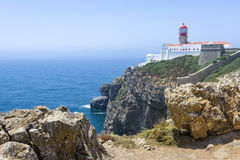 Rocky coastline and lighthouse in Sagres, Portugal Stock Photography