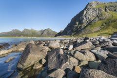 Rocky coastline on Lofoten Islands, Norway Stock Photo