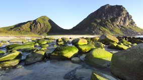 Rocky coastline on Lofoten Islands, Norway stock footage
