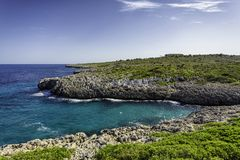 Rocky coastline of Mallorca with beautiful turquoise water. Rocky coastline of Mediterranean sea in Mallorca with beautiful turquoise water Stock Photography