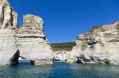 Rocky coastline in Milos island, Cyclades, Greece Stock Photos