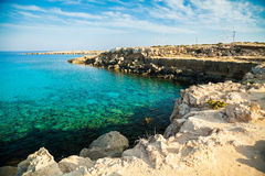 Rocky coastline at the natural park Cape Greco Royalty Free Stock Images
