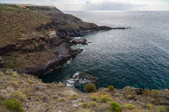 Rocky coastline near Abama beach, Tenerife Royalty Free Stock Images