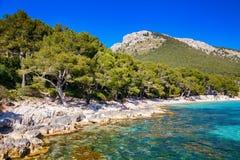 Rocky coastline near the beach of Mallorca Stock Photos