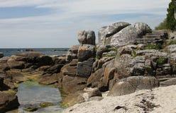 Rocky Coastline, Near Concarneau, Brittany Royalty Free Stock Photos