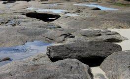 Rocky Coastline, Near Concarneau, Brittany Stock Images
