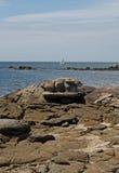 Rocky Coastline, Near Concarneau, Brittany Stock Image
