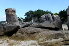 Rocky Coastline, Near Concarneau, Brittany Royalty Free Stock Images
