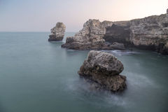 Rocky coastline. Near Tyulenovo, Bulgaria Royalty Free Stock Photo