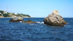 Rocky Coastline Near Yalta Crimea almacen de video