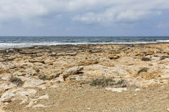 Rocky coastline next to Paphos, Cyprus Royalty Free Stock Photo