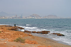 Alone On The Rocks - Alicante Sea Shore And Beach Stock Images