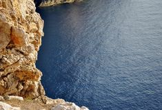 Rocky coastline overlooking a blue calm sea. In Sardinia, Italy Royalty Free Stock Images