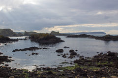 The rocky coastline overlooking Whitepark Bay to the north from Ballintoy harbor on the North Antrim coast in Northern Ireland Royalty Free Stock Photography