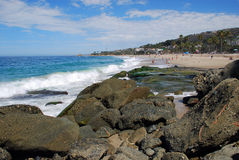 Rocky coastline part of  Aliso Beach in Laguna Beach, California. Image shows the rocky coastline just south of Aliso Beach in  Laguna Beach, California Royalty Free Stock Photo