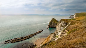 Rocky Coastline. The rocky coastline, part of  Durdle Door, on the beautiful Jurassic coast, in the South of England Stock Image
