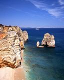 Rocky coastline, Ponta da Piedade, Algarve. Stock Photography