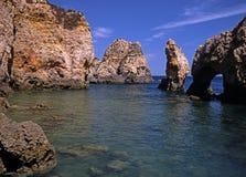 Rocky coastline, Ponta da Piedade, Portugal. Stock Images