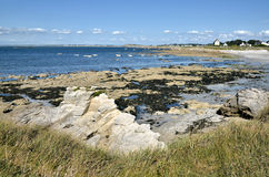 Rocky coastline of Portivy in France Royalty Free Stock Photography
