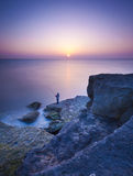 Rocky Coastline of Portland Bill at Sunset Royalty Free Stock Image