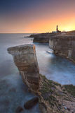 Rocky Coastline of Portland Bill at Sunset Stock Images