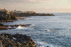 Rocky coastline of Puerto Santiago at sunset, Tenerife Royalty Free Stock Image