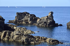 Rocky coastline of Quiberon in France Stock Photography
