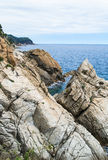 The rocky coastline. Rock in the sea Royalty Free Stock Photos