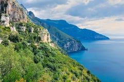 Rocky Coastline. Rocks on the seashore in Naples, Italy stock image