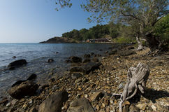 Rocky coastline. Rugged rocky coastline at the Southern part of Koh Chang in Thailand Stock Photos