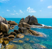 Rocky coastline on Samui Island Royalty Free Stock Images
