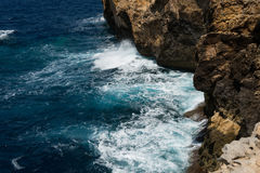 Blue hole and the collapsed Azure window. Gozo, Malta Royalty Free Stock Images