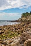 Steephill Cove, Isle of Wight. The rocky coastline at Steephill Cove near Ventnor, on the Isle of Wight stock photo