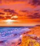 Rocky coastline at sunset in Castelsardo Royalty Free Stock Image