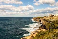 Rocky coastline in sydney australia stock photos