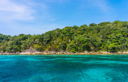 Rocky coastline of Tachai island Royalty Free Stock Images