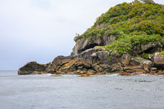 Rocky coastline. Te Anau. Fiordland National Park, New Zealand Stock Images