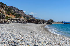 Rocky coastline with turquoise lagoon near Paleochora town on Crete island, Greece.  Royalty Free Stock Photography
