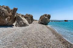 Rocky coastline with turquoise lagoon near Paleochora town on Crete island, Greece.  Stock Photography
