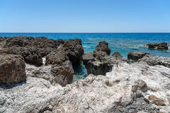 Rocky coastline with turquoise lagoon near Paleochora town on Crete island, Greece.  Royalty Free Stock Image