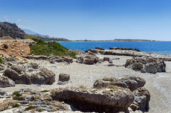 Rocky coastline with turquoise lagoon near Paleochora town on Crete island, Greece.  Stock Photo