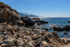 Rocky coastline with turquoise lagoon near Paleochora town on Crete island, Greece.  Stock Images