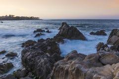 Rocky Coastline at Twilight - Monterey Bay, California Stock Photos